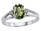 Tommaso Design™ Genuine Green Sapphire and Diamond Ring style: 302018