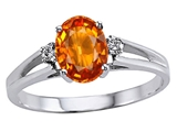 Tommaso Design™ Genuine Orange Sapphire and Diamond Ring style: 302019