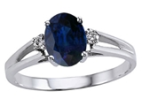 Tommaso Design Genuine Oval Sapphire and Diamond Ring