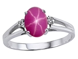 Tommaso Design™ Created Star Ruby and Genuine Diamonds Ring