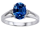 Tommaso Design Oval 8x6mm Created Sapphire and Genuine Diamond Ring