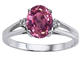 Tommaso Design™ Genuine Pink Tourmaline and Diamond Ring style: 302032