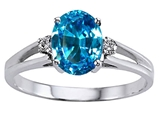 Tommaso Design™ Genuine Blue Topaz and Diamond Ring