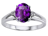Tommaso Design™ Genuine Amethyst and Diamond Ring style: 302034