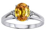 Tommaso Design Genuine Citrine and Diamond Ring