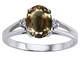 Tommaso Design Genuine Smoky Quartz and Diamond Ring