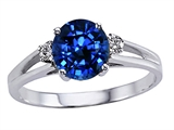 Tommaso Design Round 7mm Created Sapphire and Genuine Diamond Ring