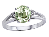 Tommaso Design™ Genuine Green Amethyst and Diamond Ring style: 302048