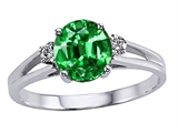 Tommaso Design Simulated Emerald And Genuine Diamond Ring