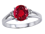 Tommaso Design™ Created Ruby and Genuine Diamond Ring