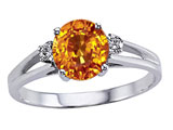 Tommaso Design™ Genuine Citrine and Diamond Ring style: 302052