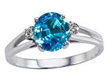 Tommaso Design™ Genuine Blue Topaz and Diamond Ring style: 302053