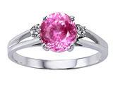 Tommaso Design Simulatd Pink Topaz and Genuine Diamond Ring