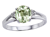 Tommaso Design Genuine Green Amethyst and Diamond Ring