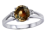 Tommaso Design™ Genuine Smoky Quartz and Diamond Ring style: 302059