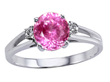 Tommaso Design Round 7mm Created Pink Sapphire and Genuine Diamond Ring