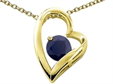 Tommaso Design™ Heart Shape Round 7mm Genuine Black Sapphire Pendant