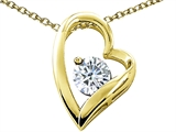 Tommaso Design Round 7mm Genuine White Topaz Heart Pendant