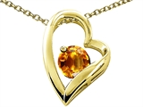 Tommaso Design Heart Shape Round 7mm Genuine Citrine Pendant