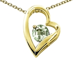 Tommaso Design™ Heart Shape Round 7mm Genuine Green Amethyst Pendant