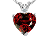 Tommaso Design Genuine 8mm Garnet and Diamond Heart Pendant