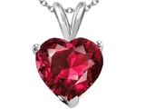 Tommaso Design 8mm Heart Created Ruby Pendant
