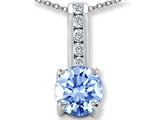 Original Star K Simulated Aquamarine And Genuine Cubic Zirconia Pendant