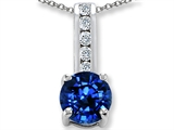 Original Star K Lab Created Sapphire And Genuine Cubic Zirconia Pendant