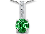 Simulated Emerald And Genuine Cubic Zirconia Pendant