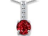 Created Ruby And Genuine Cubic Zirconia Pendant