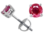 Tommaso Design™ Genuine 4.5mm. Round Ruby Screw Back Earring Studs