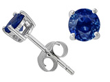 Tommaso Design Round 5.5mm Genuine Sapphire Earring Studs