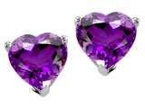Tommaso Design Heart Shape 6mm Genuine Amethyst Earring Studs