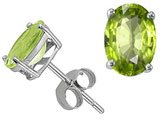 Tommaso Design Oval 7x5mm Genuine Peridot Earring Studs