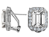 Original Star K™ 10x8mm Emerald Cut White Topaz Earrings style: 302146