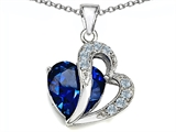 Original Star K Large 12mm Created Blue Sapphire Heart Pendant with Sterling Silver Chain