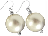 20mm White Genuine South Sea Shell Majorca Pearl Hanging Earrings