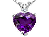 Tommaso Design Genuine 8mm Amethyst and Diamond Heart Pendant