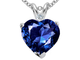 Tommaso Design 8mm Created Sapphire and Genuine Diamond Heart Pendant