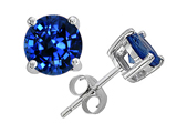 Tommaso Design 7mm Genuine Round Created Sapphire Earring Stud