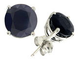 Tommaso Design 7mm Round Genuine Black Sapphire Earring Studs