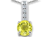 Simulated Yellow Sapphire And Genuine Cubic Zirconia Pendant