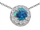 Original Star K Created Round Blue Opal Pendant