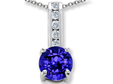 Original Star K Simulated Tanzanite And Cubic Zirconia Pendant