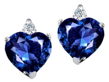 Tommaso Design Heart Shape 7mm Created Sapphire and Genuine Diamonds Earring Studs