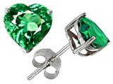 Original Star K™ 7mm Heart Simulated Emerald Earrings Studs style: 302263