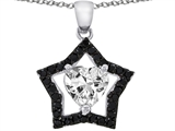 925 Sterling Silver 14K White Gold Plated Heart Shaped White Quartz and Black Quartz Star Pendant