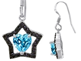 Original Star K™ 925 Heart Shaped Genuine Blue Topaz Black Star Hanging Hook Earrings