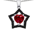 925 Sterling Silver 14K White Gold Plated Heart Shaped Created Ruby Black Star Pendant