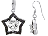 Original Star K 925 Heart Shaped Genuine Cubic Zirconia Black Star Hanging Hook Earrings